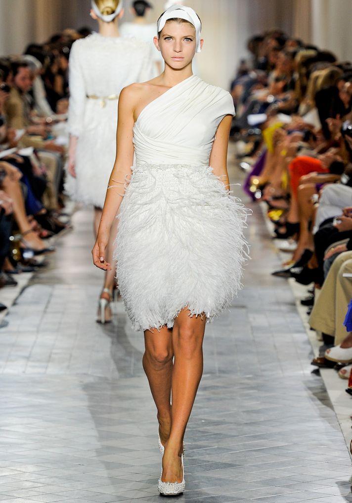 One-shoulder feather embellished little white wedding reception dress