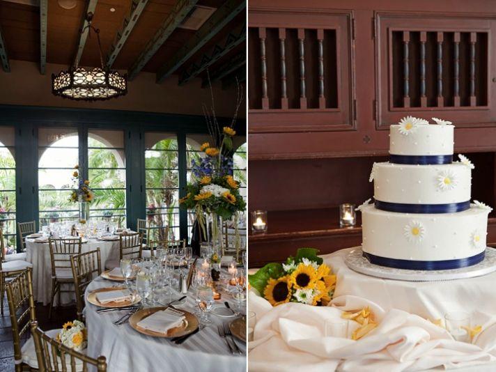 Rustic chic wedding reception centerpieces, classic white wedding cake
