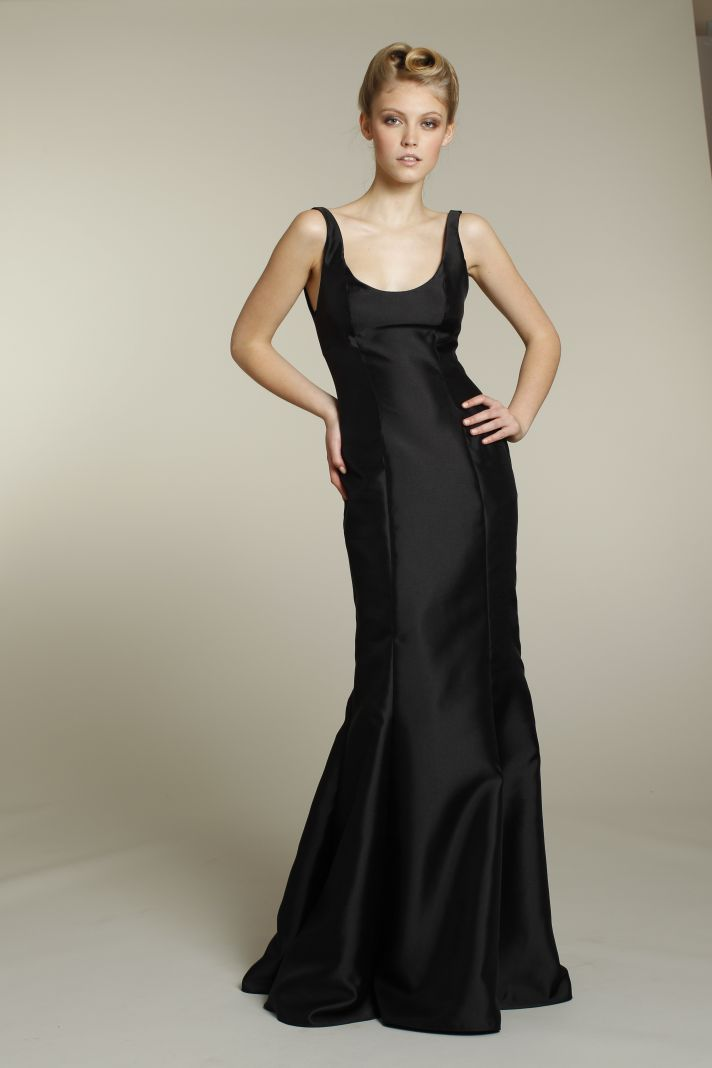 Sophisticated long black bridesmaid dress