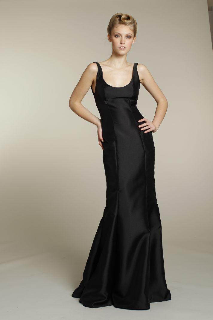 Sophisticated long black bridesmaid dress