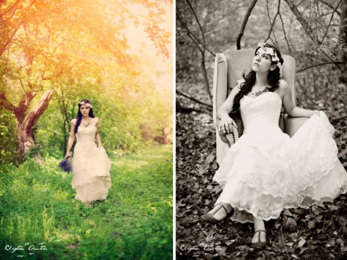 Boho chic bride poses for wedding photographer in rustic setting