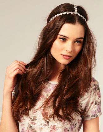 Alldown wedding hairstyle with embellished bridal headband