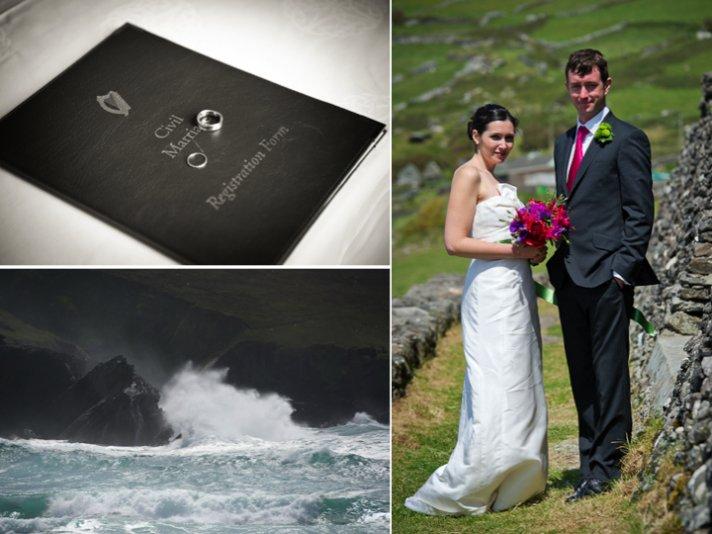 Destination wedding bride and groom pose on beach
