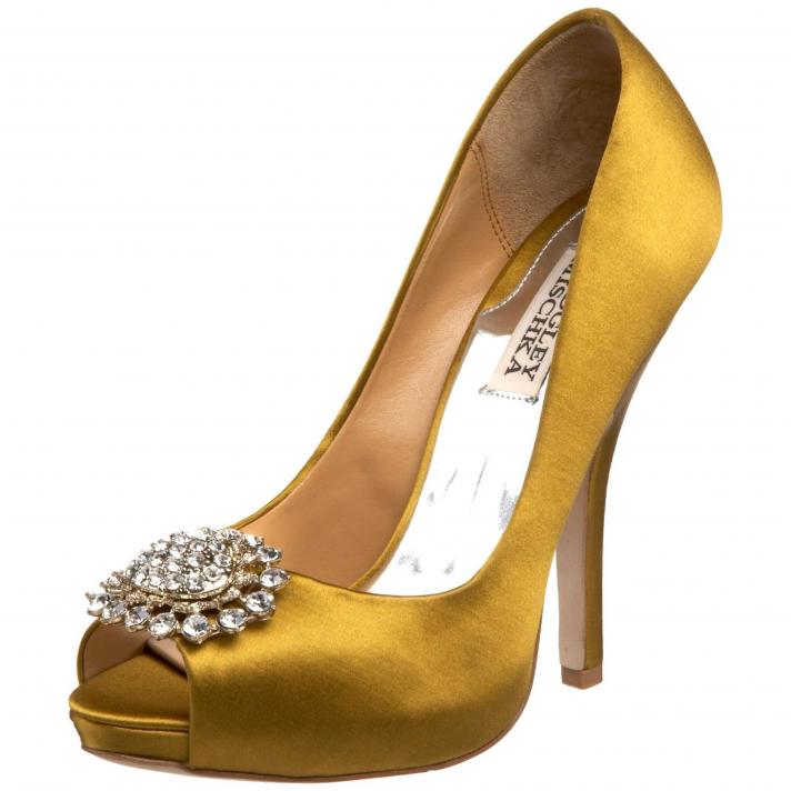 Chic gold peep-toe bridal heels