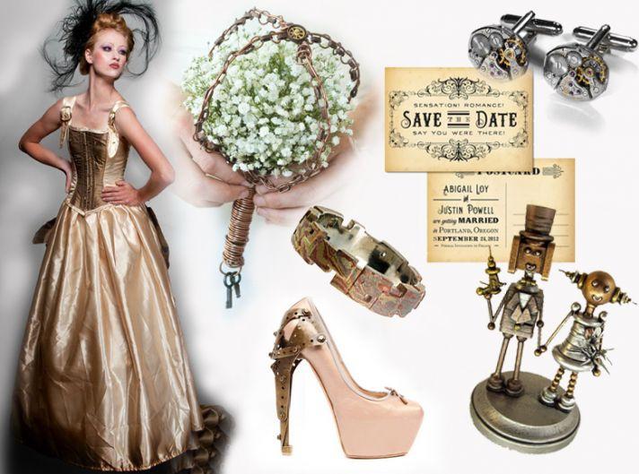Elegant steampunk vintage wedding theme