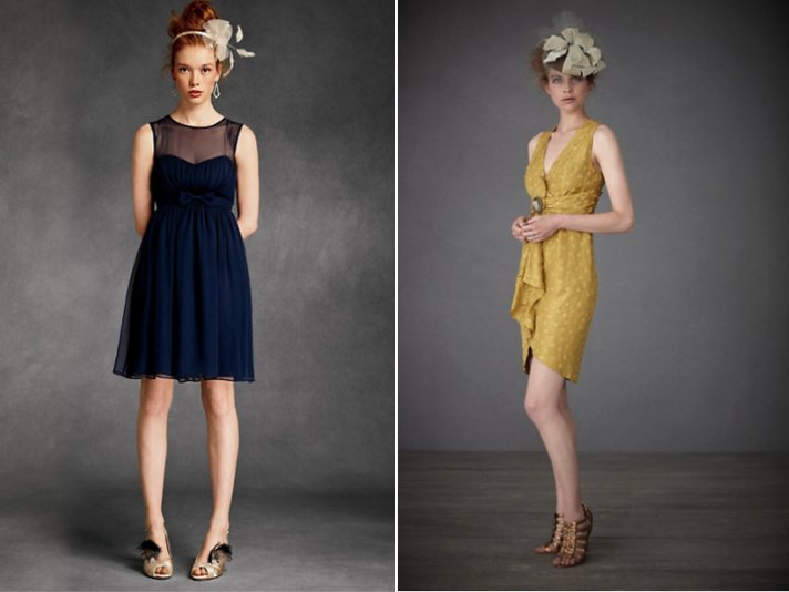 Chic navy blue and gold BHLDN bridesmaids dresses