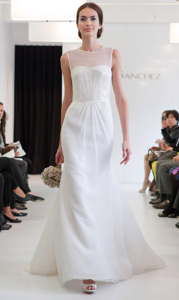 Trumpet wedding dress with illusion neckline