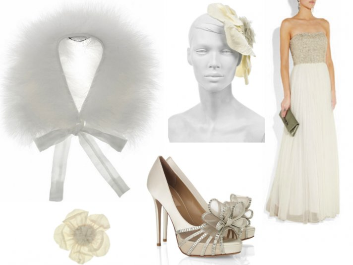 Whimsical wedding accessories including a fur bridal bolero and bow-adorned wedding shoes