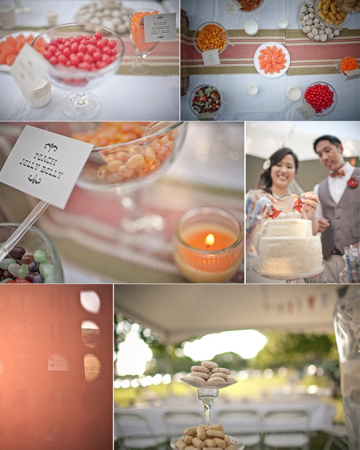 Peach and pink candy bar at outdoor wedding