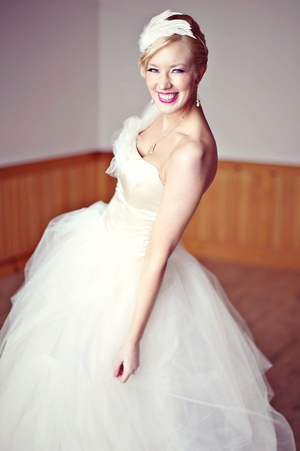 One-shoulder tulle ballgown wedding dress in eco-friendly fabric