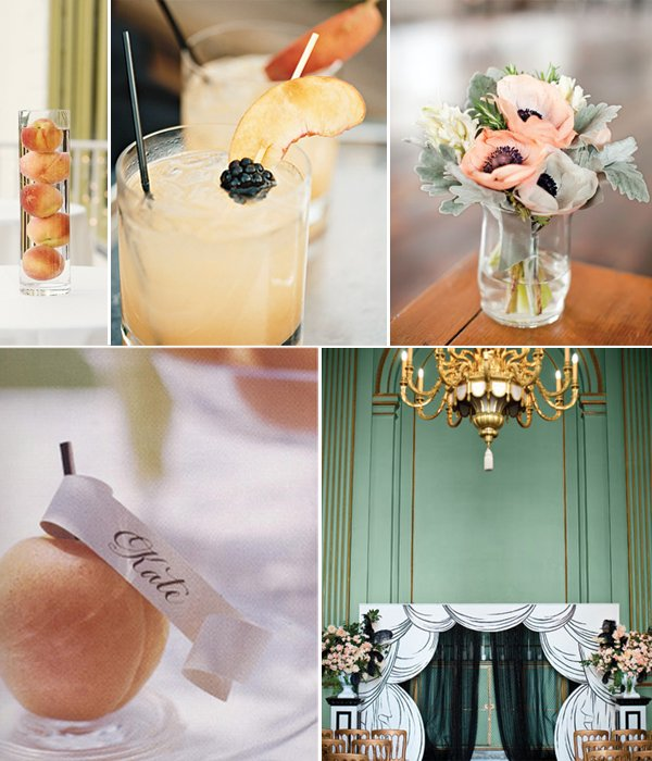 Peach-inspired wedding reception decor- escort card holders, modern centerpieces, signature cocktail