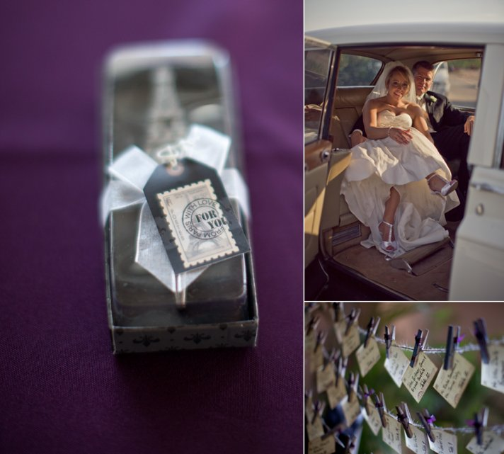 Personalized wedding guest favors, vintage wedding car
