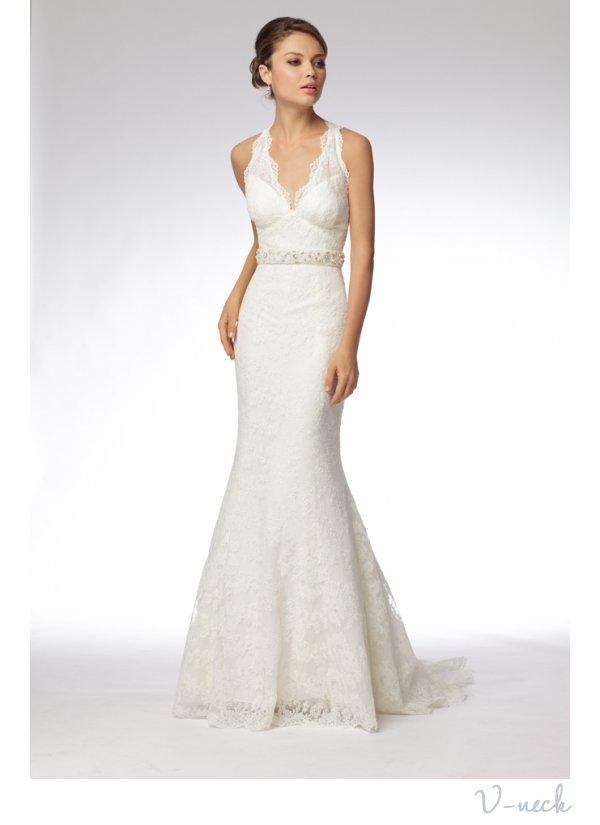 V-neck mermaid wedding dress