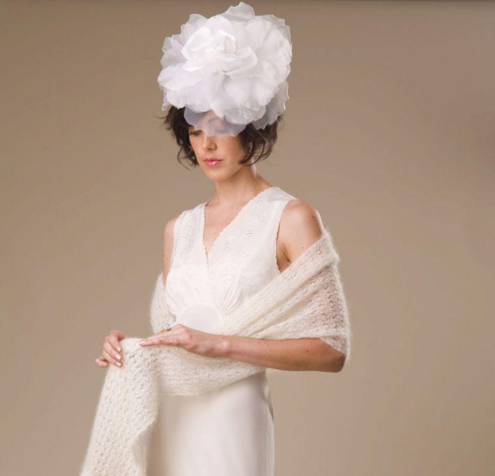 Oversized wedding headpiece- romantic floral adorned bridal headband