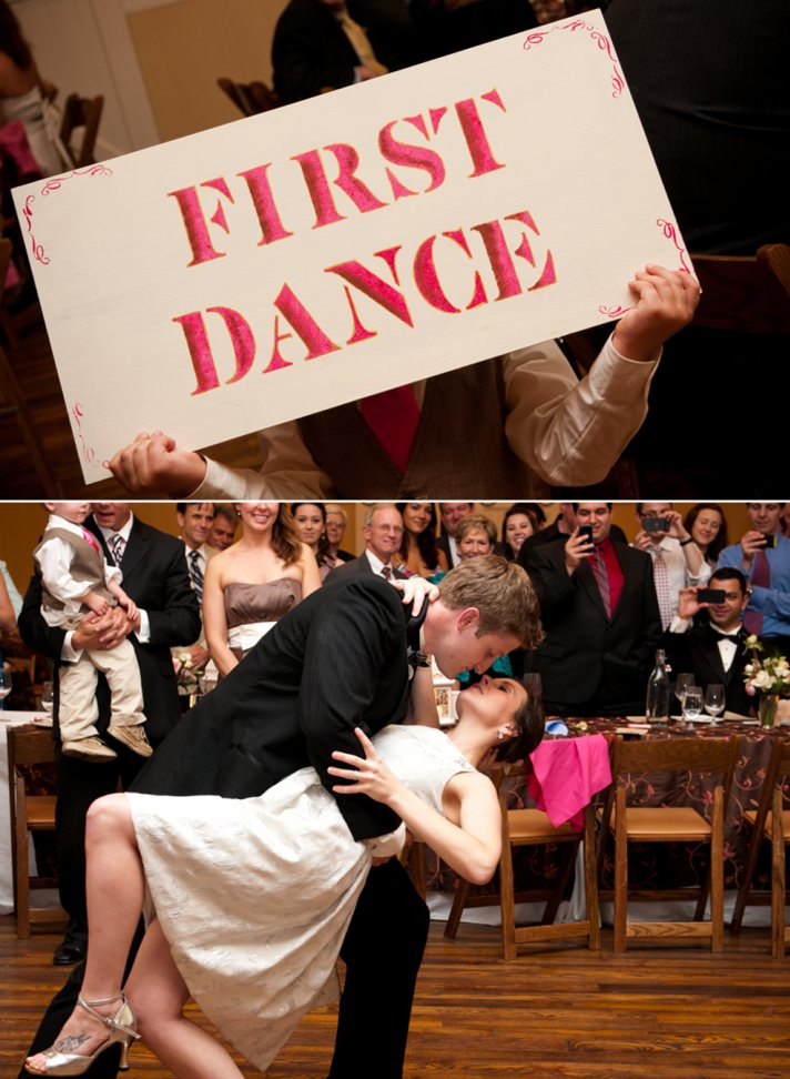 Bride and groom show off first dance moves