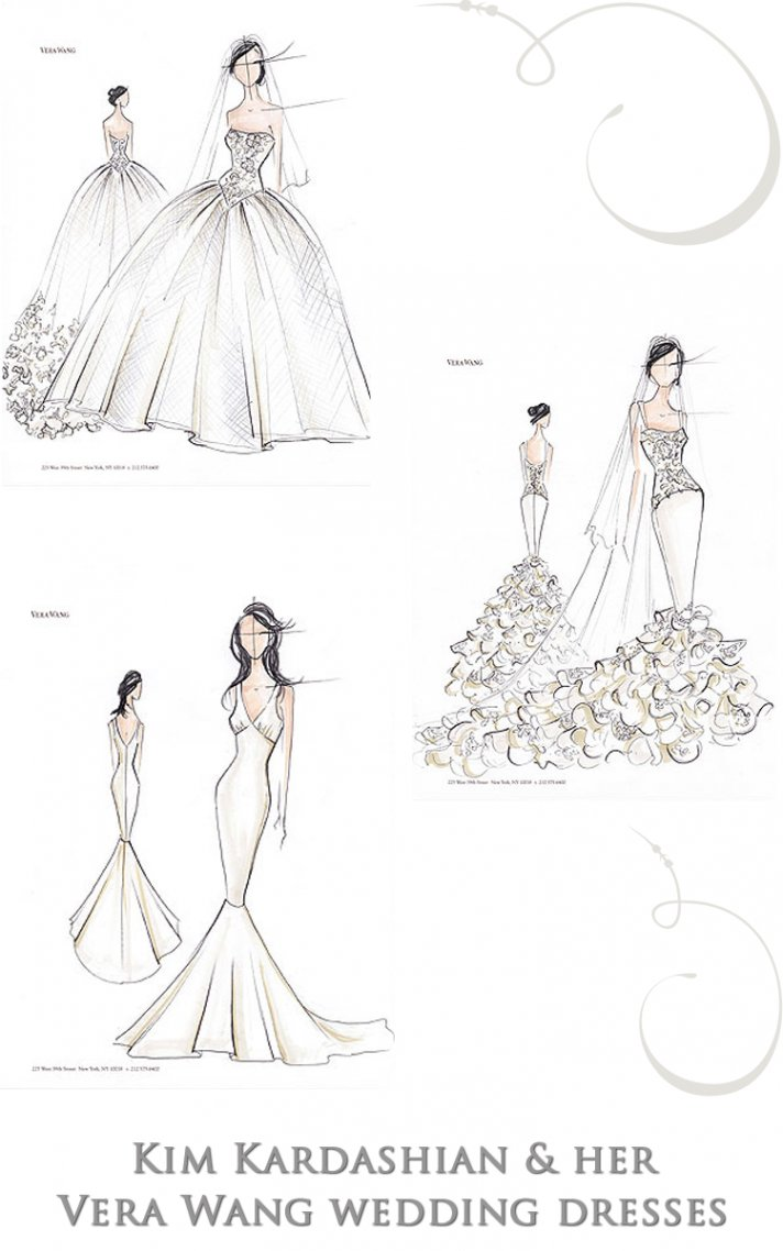 Sketches of Kim Kardashian's three wedding dresses by Vera Wang