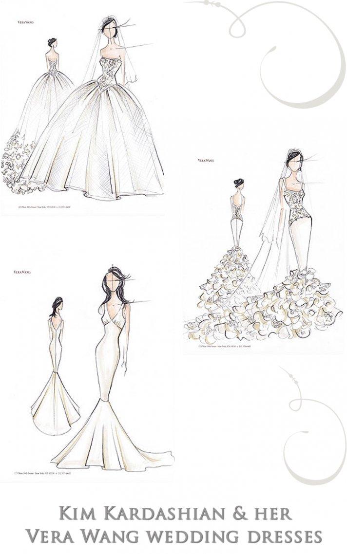 Sketches of Kim Kardashian's three wedding dresses by Vera Wang