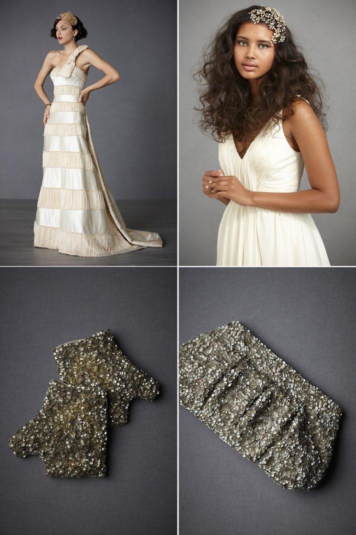 Champagne BHLDN wedding dress, sparkly metallic bridal gloves and clutch