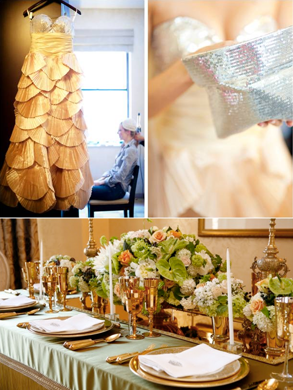Metallic gold wedding tablescape and elegant wedding dress