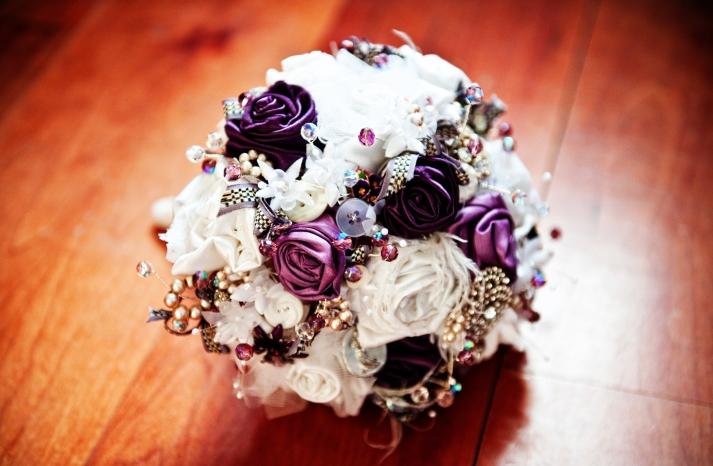 Purple-ivory-brooch-bouquet-unique-wedding-flowers