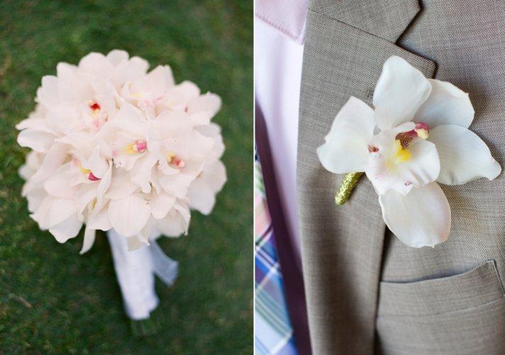 Elegant orchid bridal bouquet, groom's boutonniere