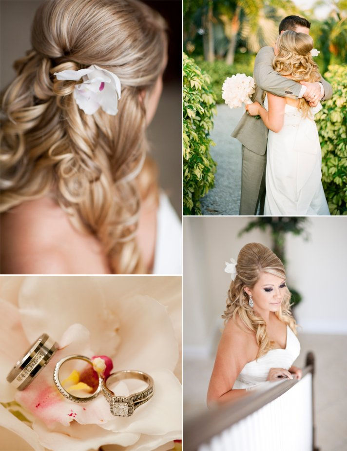 Outdoor wedding in Florida- bride wears half-up wedding hairstyle