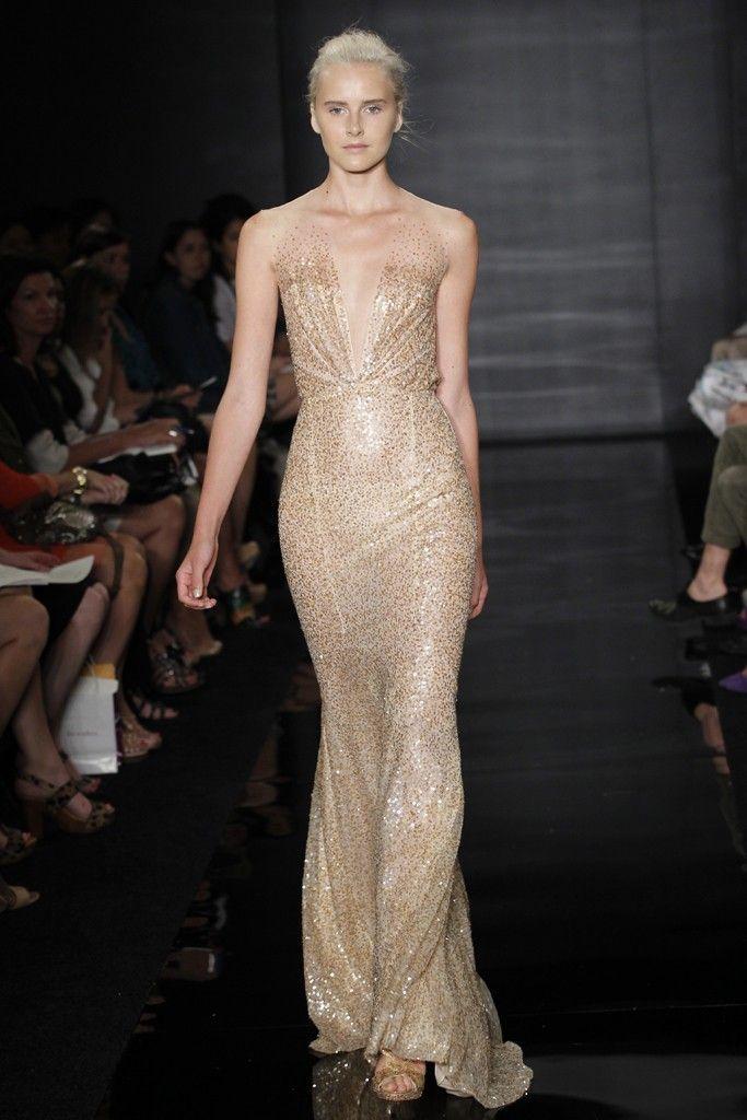 Ethereal nude and gold metallic wedding dress