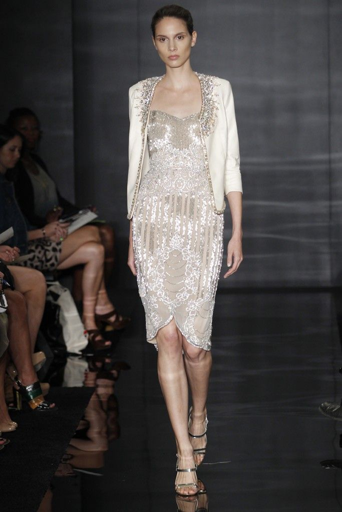Beaded gold wedding reception dress by Reem Acra