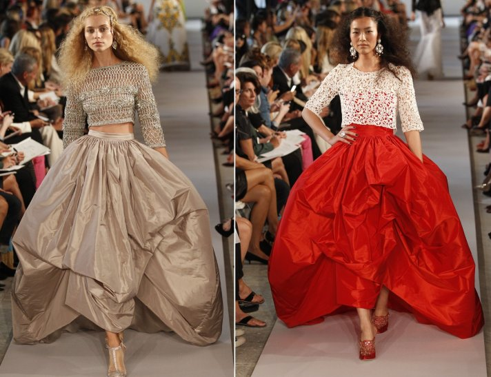 Dramatic ballgown wedding dress skirts from Oscar de la Renta