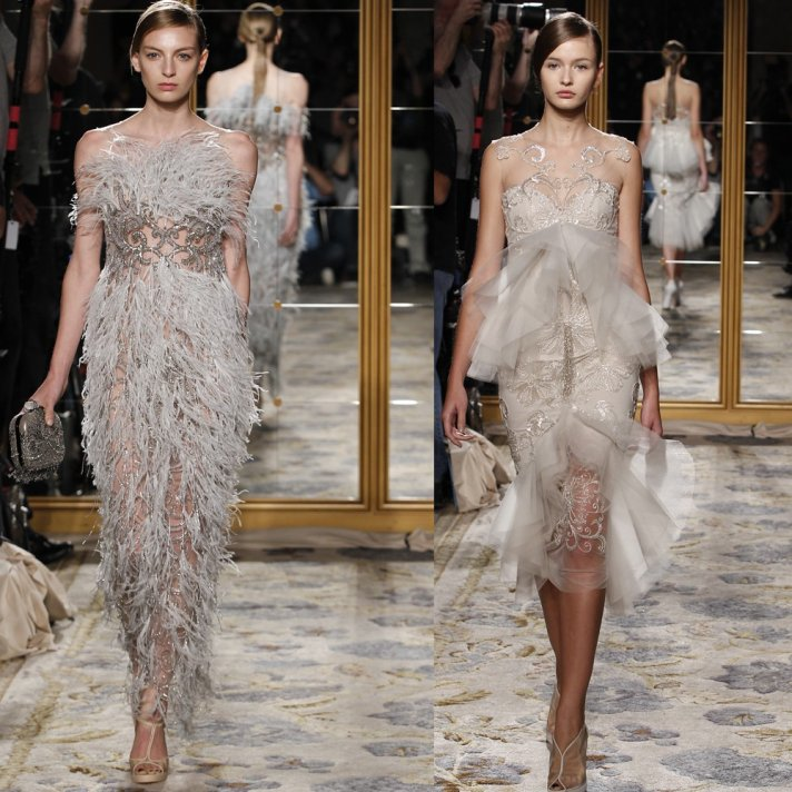Vintage-inspired Marchesa wedding dress and reception dress with feather and beading embellkishement