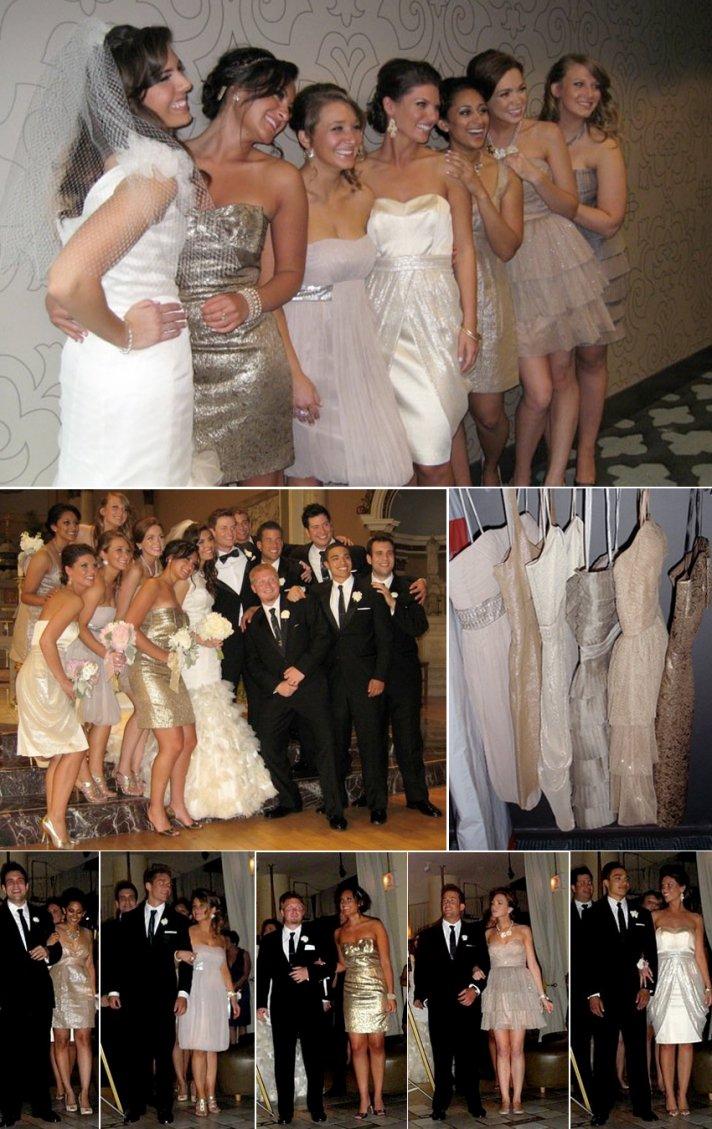 Long mix and match bridesmaids dresses at outdoor California wedding
