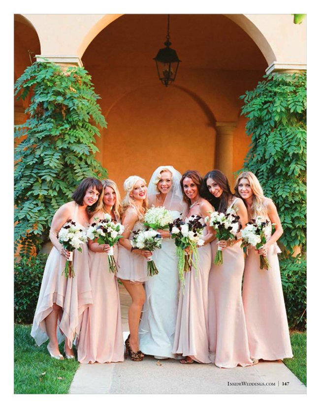 Celebrity wedding with mix and match bridesmaids dresses