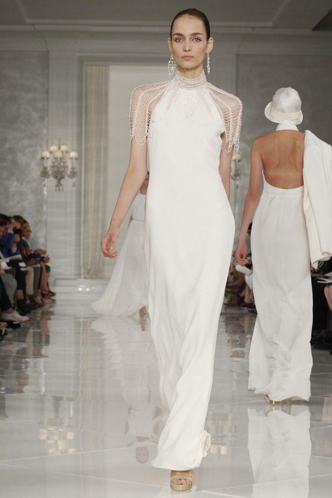 White beach wedding dress with beaded sleeves
