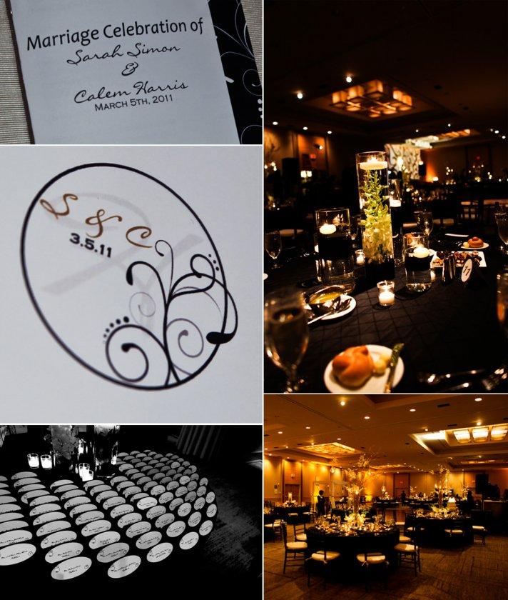 Elegant black and ivory wedding reception decor