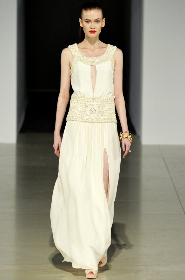 Ivory grecian-inspired Temperley London wedding dress