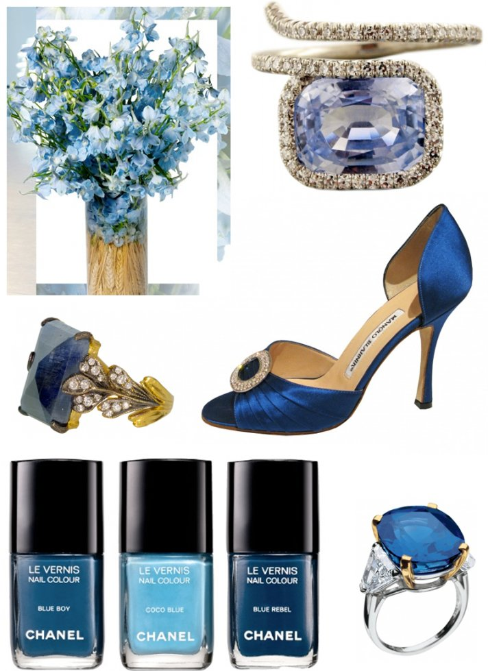 Blue wedding shoes, diamond and sapphire engagement rings, blue bridal bouquet