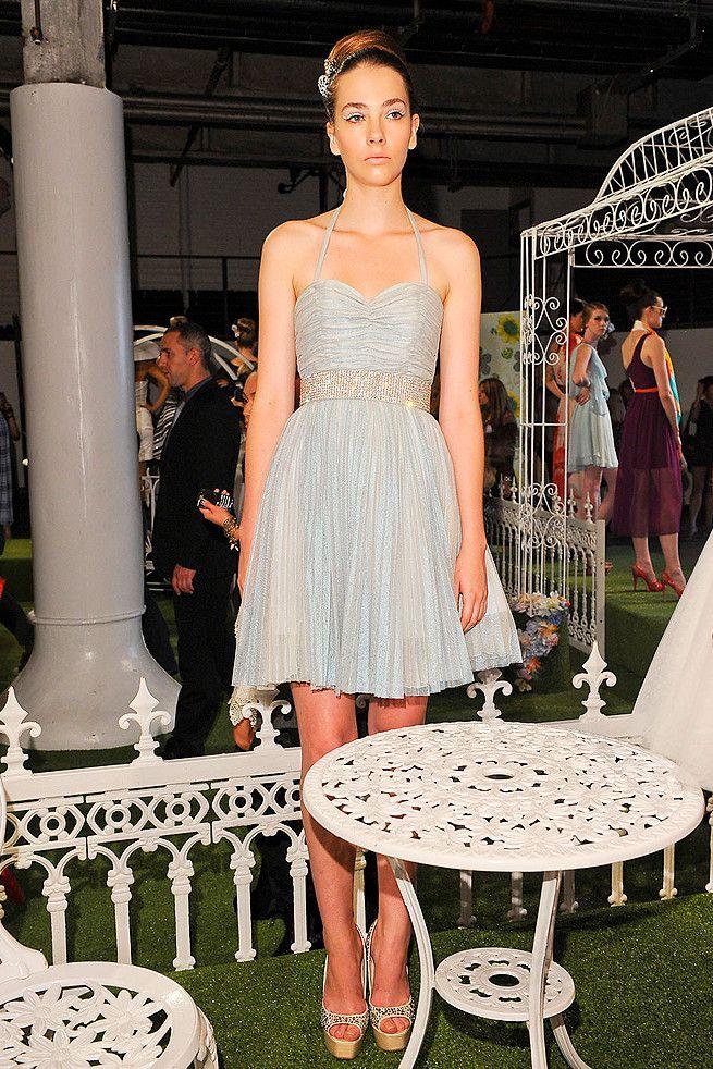 Elegant light blue wedding reception dress