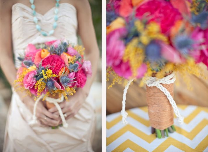 Colorful bridal bouquet, retro wedding decor