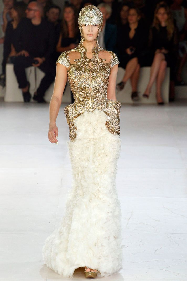 Opulent gold and ivory wedding dress by Sarah Burton for Alexander McQueen