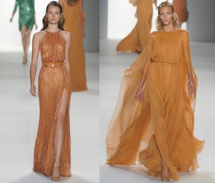 Deep peach bridesmaids' dresses by Elie Saab