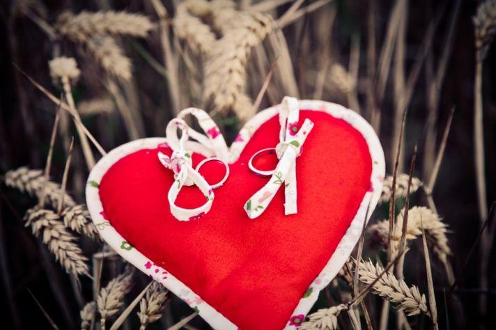 Heart-themed real wedding