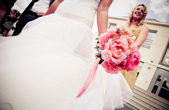 white-wedding-dress-pink-peonies