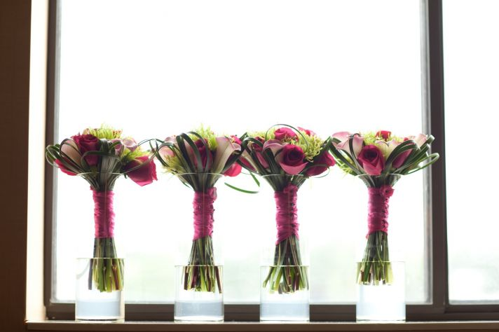 Modern hot pink and green bridal bouquet and bridesmaids' flowers