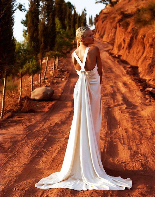 Ivory silk wedding dress with v-shaped halter back