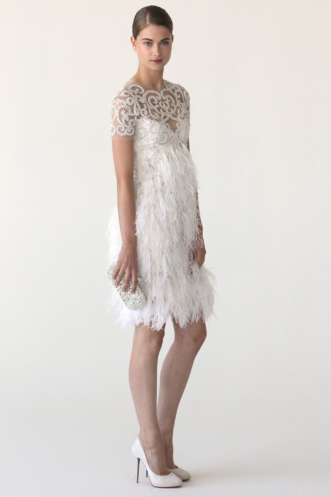 Feather-adorned Marchesa wedding reception dress
