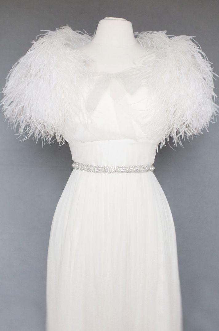 Glamourous feather bridal shrug
