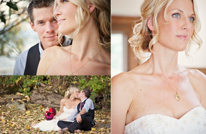 Bride wears white empire wedding dress