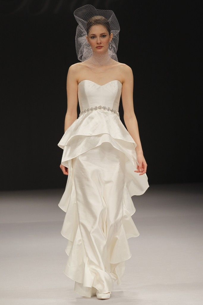 2012 wedding dress trend peplums onewed for Wedding dresses for big hips
