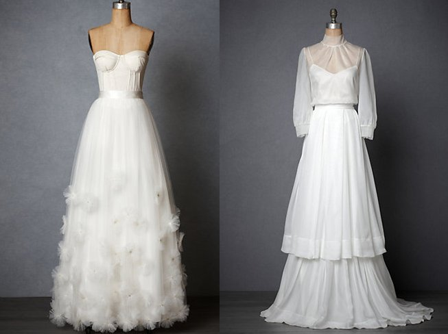 BHLDN wedding dress separates for vintage inspired brides, bridesmaids
