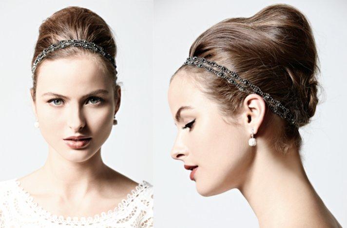 vintage-inspired BHLDN bridal updo with headband